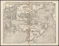 World, Western Hemisphere, North America, South America, Pacific and America Map By Sebastian Munster