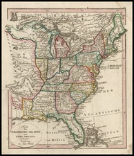 United States and South Map By Johann Walch