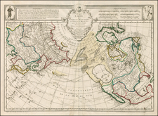 Polar Maps, Alaska, North America, Canada and Pacific Map By Jean André Dezauche