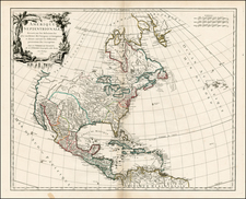North America Map By Gilles Robert de Vaugondy