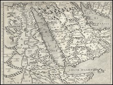 Asia, Central Asia & Caucasus, Middle East, Africa and North Africa Map By Giovanni Francesco Camocio