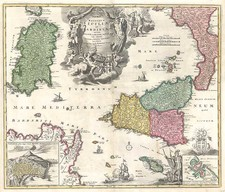 Europe, France, Italy, Mediterranean and Balearic Islands Map By Johann Baptist Homann