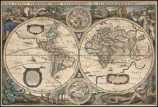 World and World Map By Jodocus Hondius / Henri Le Roy