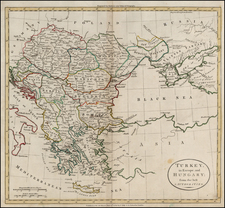 Europe, Hungary, Balkans, Greece and Turkey Map By William Guthrie