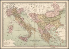 Europe, Italy, Greece, Turkey and Mediterranean Map By T. Ellwood Zell