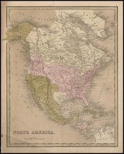 Texas and North America Map By Thomas Gamaliel Bradford