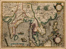 Asia, China, India, Southeast Asia and Philippines Map By Jodocus Hondius