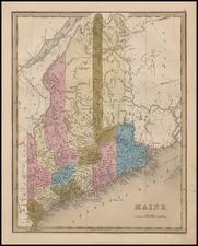 New England and Maine Map By Thomas Gamaliel Bradford