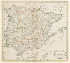 Spain and Portugal Map By G. Robinson  &  Charles Dilly