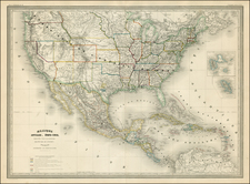 United States and Mexico Map By Adolphe Hippolyte Dufour