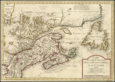 New England and Canada Map By Jacques Nicolas Bellin