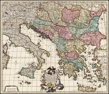 Europe, Austria, Hungary, Balkans, Italy, Mediterranean, Balearic Islands and Greece Map By Jacob de la Feuille