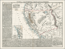 Southwest, Rocky Mountains and California Map By Hypolite Ferry  &  Benedetto Marzolla