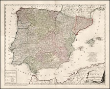 Spain and Portugal Map By Franz Johann Joseph von Reilly