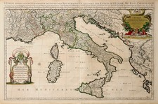 Europe and Italy Map By Alexis-Hubert Jaillot / Pieter Mortier