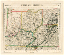 Mid-Atlantic, South, Southeast and Midwest Map By Philippe Marie Vandermaelen