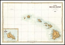 Hawaii Map By Jules Sebastian Cesar Dumont-D'Urville