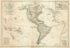 South America and America Map By Eustache Herisson