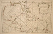 South, Southeast, Texas and Caribbean Map By Jacques Nicolas Bellin
