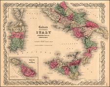 Europe, Italy, Mediterranean and Balearic Islands Map By Joseph Hutchins Colton