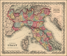 Europe, Italy and Balearic Islands Map By Joseph Hutchins Colton