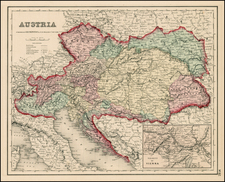 Europe, Austria, Hungary, Czech Republic & Slovakia and Balkans Map By Joseph Hutchins Colton