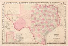 Texas Map By Benjamin P Ward  &  Alvin Jewett Johnson