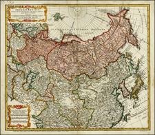 Russia, China, Japan, Korea, Central Asia & Caucasus and Russia in Asia Map By Johann Matthaus Haas
