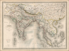 Asia, India, Southeast Asia, Central Asia & Caucasus and Turkey & Asia Minor Map By Adolphe Hippolyte Dufour