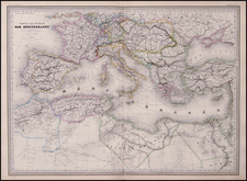 Europe, Mediterranean, Balearic Islands, Africa and North Africa Map By Adolphe Hippolyte Dufour