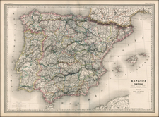 Europe, Spain and Portugal Map By Adolphe Hippolyte Dufour