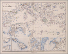 Europe, Greece, Mediterranean and Balearic Islands Map By W. & A.K. Johnston