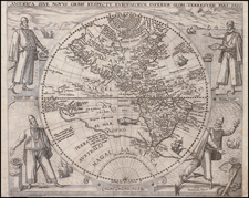World, Western Hemisphere, North America, South America, Australia & Oceania, Australia, Oceania and America Map By Theodor De Bry / Girolamo Benzoni