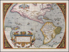 World, Western Hemisphere, North America, South America and America Map By Abraham Ortelius