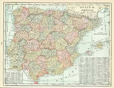 Spain and Portugal Map By George F. Cram