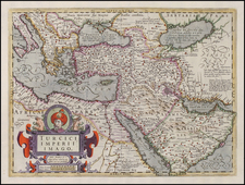 Europe, Balkans, Greece, Turkey, Mediterranean, Balearic Islands, Asia, Central Asia & Caucasus, Middle East, Holy Land, Turkey & Asia Minor, Africa, North Africa and Russia in Asia Map By Jodocus Hondius