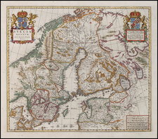 Europe, Russia, Baltic Countries and Scandinavia Map By Johannes Blaeu