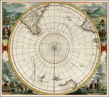 Polar Maps, South America, Pacific, Australia and New Zealand Map By Frederick De Wit
