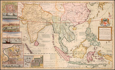 Asia, China, India, Southeast Asia and Philippines Map By Herman Moll