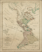 South America and America Map By Homann Heirs / Franz Ludwig Gussefeld / Christoph Fembo