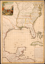 United States, Mid-Atlantic, South, Southeast, Texas and Midwest Map By Louis Brion de la Tour / Esnauts & Rapilly