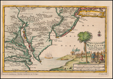 Mid-Atlantic and Southeast Map By Pieter van der Aa