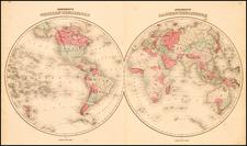 World and World Map By Benjamin P Ward  &  Alvin Jewett Johnson