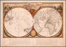 World, World, Northern Hemisphere and Southern Hemisphere Map By Giovanni Antonio Remondini
