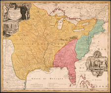 United States, South, Midwest, Plains, North America and Canada Map By Johann Baptist Homann