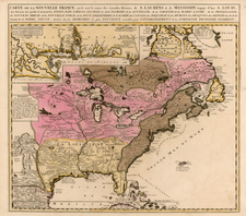United States, Mid-Atlantic, Southeast, Midwest and North America Map By Nicolas de Fer