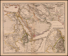 Turkey, Central Asia & Caucasus, Middle East, North Africa, African Islands, including Madagascar and Balearic Islands Map By Adolf Stieler