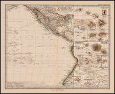 North America, Australia & Oceania and Oceania Map By Adolf Stieler