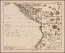 North America, Australia & Oceania and Oceania Map By Adolf Stieler
