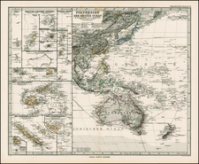 Australia & Oceania and Oceania Map By Adolf Stieler